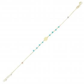 eJOYA 14 Ayar Altın Mavi Taşlı Damla Bileklik 97669