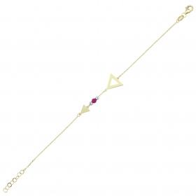 eJOYA 14 Ayar Altın Taşlı Üçgen Bileklik 97680