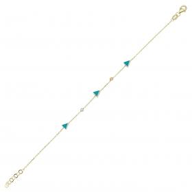 eJOYA 14 Ayar Altın Mavi Mineli Üçgen Bileklik 97703