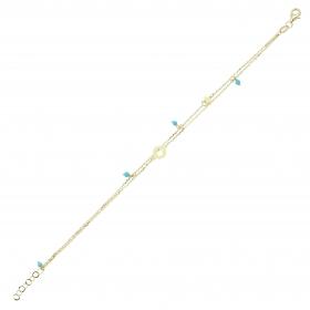 eJOYA 14 Ayar Altın Çift Zincirli Mavi Taşlı Yıldız Bileklik 97712