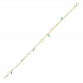 eJOYA 14 Ayar Altın Çift Zincirli Mavi Taşlı Haç Bileklik 98004
