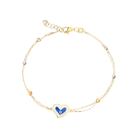 eJOYA 14 Ayar Altın Çift Zincirli Mineli Kalp Bileklik 98170