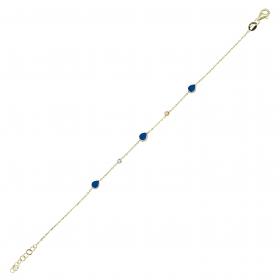 eJOYA 14 Ayar Altın Mavi Mineli Damla Bileklik 98187