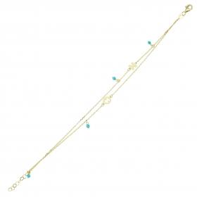 eJOYA 14 Ayar Altın Çift Zincirli Mavi Taşlı Puzzle Bileklik 98188