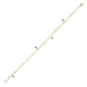 eJOYA 14 Ayar Altın Çift Zincirli Yeşil Taşlı Kırlangıç Bileklik 98189