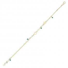 eJOYA 14 Ayar Altın Çift Zincirli Yeşil Taşlı Çiçek Bileklik 98190