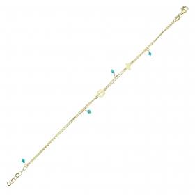 eJOYA 14 Ayar Altın Çift Zincirli Yeşil Taşlı Kelebek Bileklik 98191