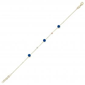 eJOYA 14 Ayar Altın Mavi Mineli Bileklik 98239