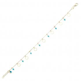 eJOYA 14 Ayar Altın Mavi Taşlı Çiçek Bileklik 98250