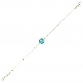 eJOYA 14 Ayar Altın Mavi Mineli Ay Yıldız Bileklik 98288