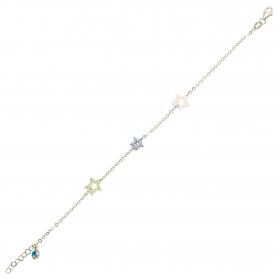 eJOYA 14 Ayar Altın Taşlı Üçlü Yıldız Bileklik 98294