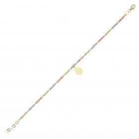 eJOYA 14 Ayar Altın Üç Renkli Dorika Damla Bileklik 98356