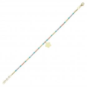 eJOYA 14 Ayar Altın Üç Renkli Dorika Çiçek Bileklik 98358