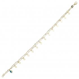 eJOYA 14 Ayar Altın Çift Zincirli Pullu Bileklik 98365