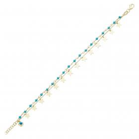 eJOYA 14 Ayar Altın Çift Zincirli Taşlı Yıldız Bileklik 98374