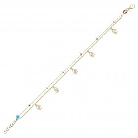 eJOYA 14 Ayar Altın Çift Zincirli Tasarım Bileklik 98384