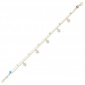 eJOYA 14 Ayar Altın Çift Zincirli Tasarım Bileklik 98385