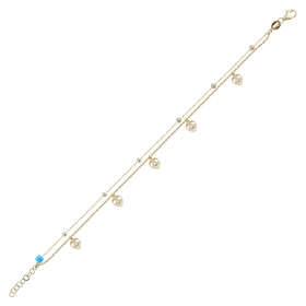 eJOYA 14 Ayar Altın Çift Zincirli Tasarım Bileklik 98386