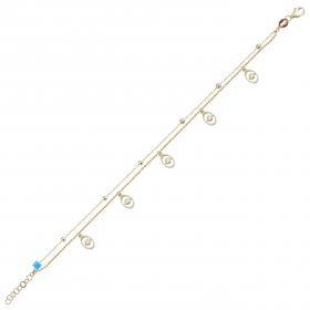 eJOYA 14 Ayar Altın Çift Zincirli Tasarım Bileklik 98387