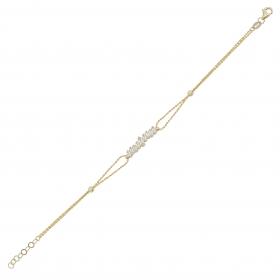 eJOYA 14 Ayar Altın Çift Zincirli Baget Taşlı Bileklik 98415
