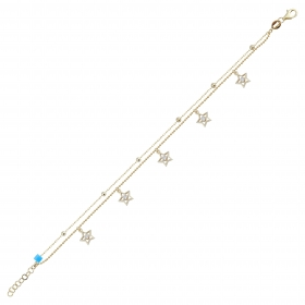 eJOYA 14 Ayar Altın Çift Zincirli Taşlı Yıldız Tasarım Bileklik 98449