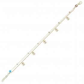 eJOYA 14 Ayar Altın Çift Zincirli Taşlı Kare Tasarım Bileklik 98450