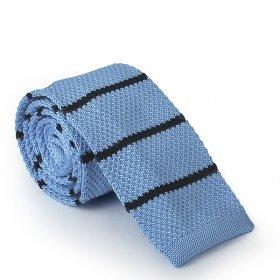 Açık Mavi - Lacivert Çizgili Örme Kravat