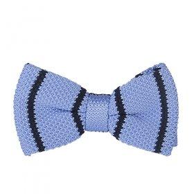 Açık Mavi Lacivert Çizgili Örme Papyon