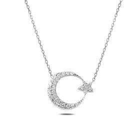 eJOYA Ay Yıldız Gümüş Kolye 79477