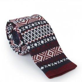 Bordo - Lacivert Desenli Örme Kravat