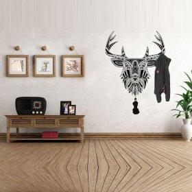 Desenli Siyah Renk Geyik Askılık Duvar Sticker