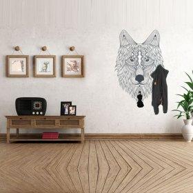 Desenli Siyah Renk Kurt Askılık Duvar Sticker