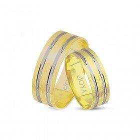 eJOYA 14 Ayar Altın Çift Alyans 6 mm