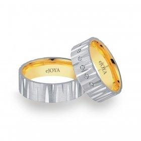 eJOYA 14 Ayar Altın Çift Alyans 7 mm