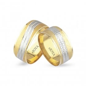 eJOYA 14 Ayar Altın Çift Alyans 8 mm