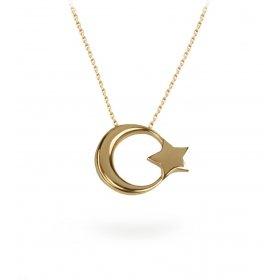 eJOYA Ay Yıldız Altın Kolye