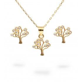 eJOYA Hayat Ağacı Altın Kolye-Küpe Seti