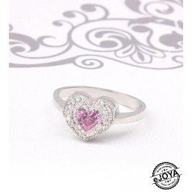 eJOYA Pembe Kalp Taşlı Gümüş Yüzük  UCLR709