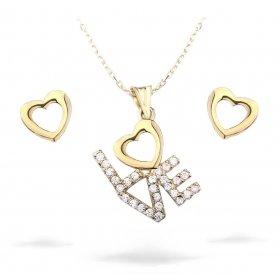 eJOYA Taşlı Kalp Love Altın Takım