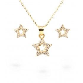 eJOYA Yıldız Altın Kolye-Küpe Seti