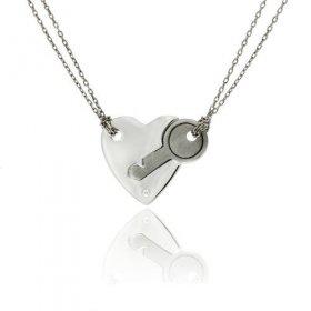 eJOYA 0,01 ct Pırlanta Kalbimin Anahtarı Gümüş Kolye