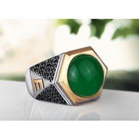eJOYA 925 Ayar Doğal Yeşil Akik Taşlı Altın Harfli Gümüş Erkek Yüzük