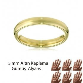 eJOYA Altın Kaplama Gümüş Alyans 5 mm