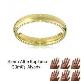 eJOYA Altın Kaplama Gümüş Alyans 6 mm