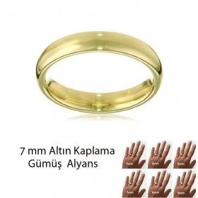 eJOYA Altın Kaplama Gümüş Alyans 7 mm