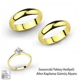 eJOYA Altın Kaplama Gümüş Alyanslar - Hediyeli