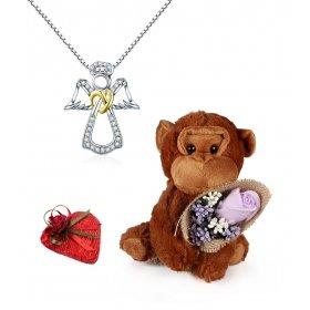 eJOYA Altın Kapli Melek ve Aşk Maymunu - Çikolata Hediyeli