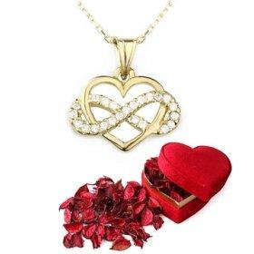 eJOYA Altın Sonsuzluk Kalp Kolye ve Kırmızı Gül Yaprakları