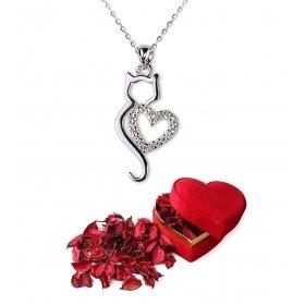 eJOYA Aşk Kedisi Gümüş Kolye Kalp Hediye Paketinde