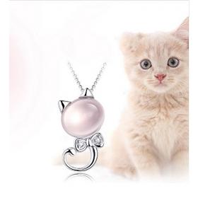 eJOYA Doğal Taşlı Kedicik Gümüş Kolye
